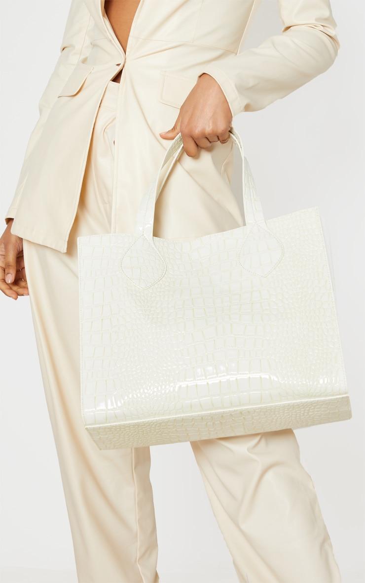 White Croc Tote Bag 1