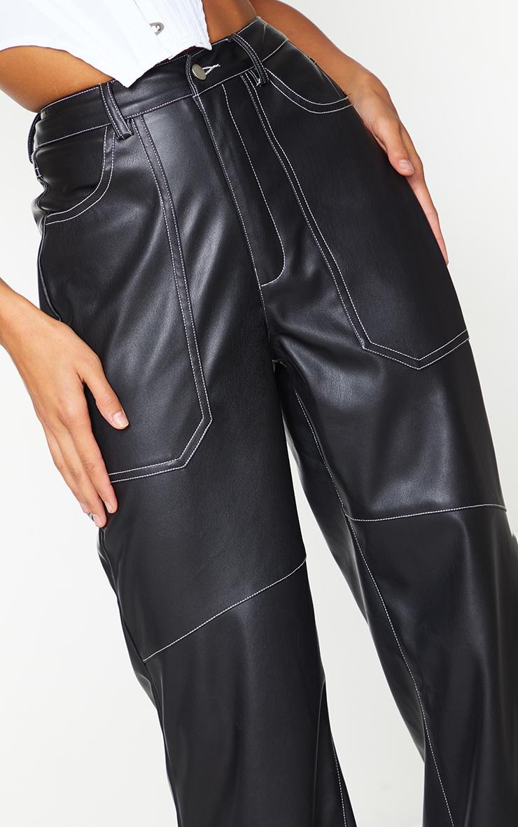Black Faux Leather Seam Extreme Wide Leg Pants 4