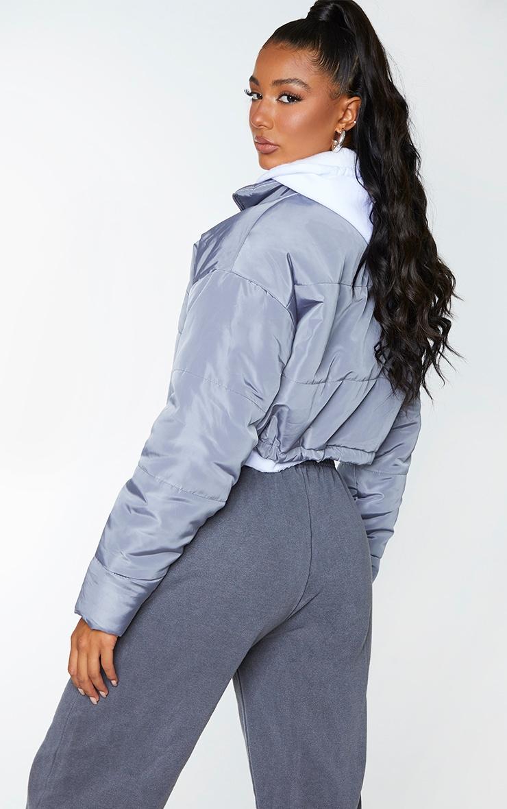 Grey Nylon Super Cropped Toggle Hem Puffer Jacket 2
