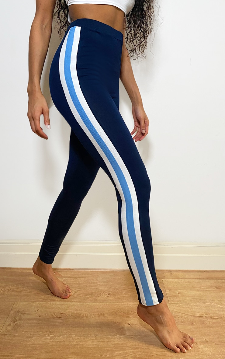 Navy Multi Side Stripe Leggings 2
