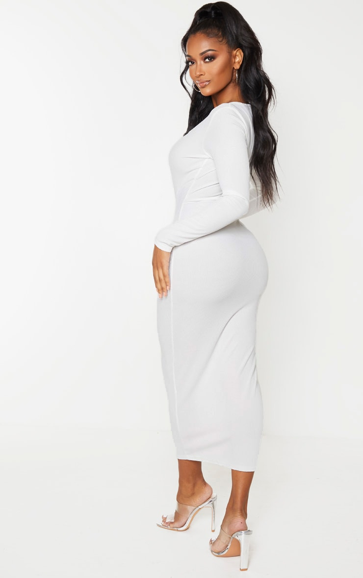 Shape Cream Ribbed Button Front Long Sleeve Midaxi Dress 2