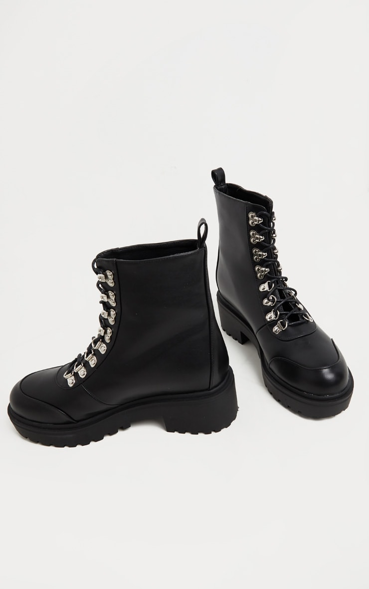 Black Chunky Sole Hiker Boot 4