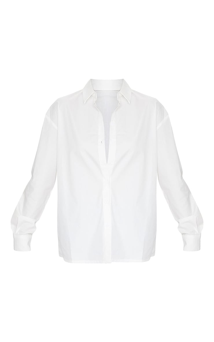 White Button Cotton Oversized Shirt 5