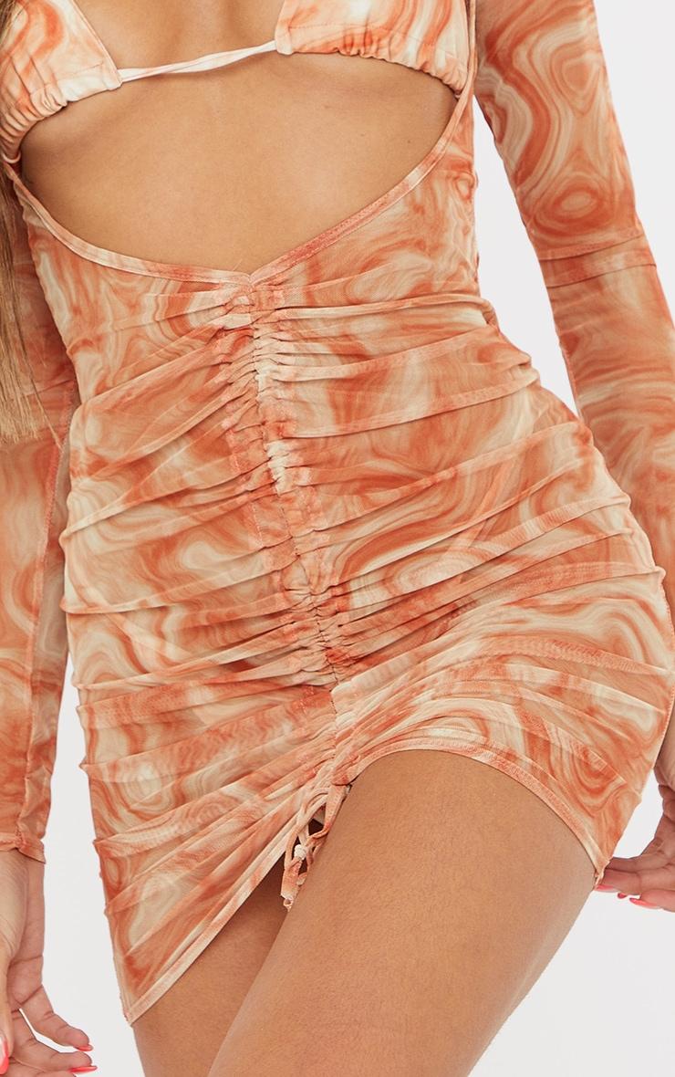 Robe froncée corail en mesh 4