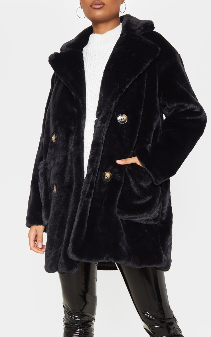 Black Faux Fur Double Breasted Button Detail Coat 5