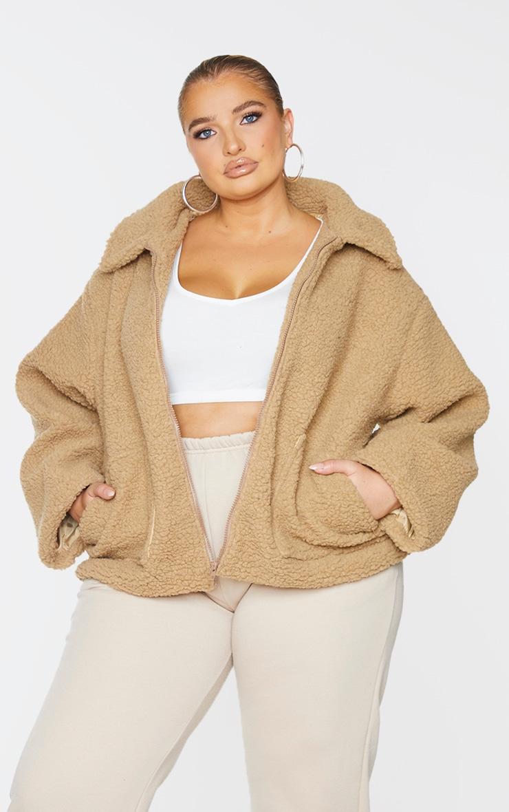 Plus Camel Borg Zip Up Oversized Jacket 1