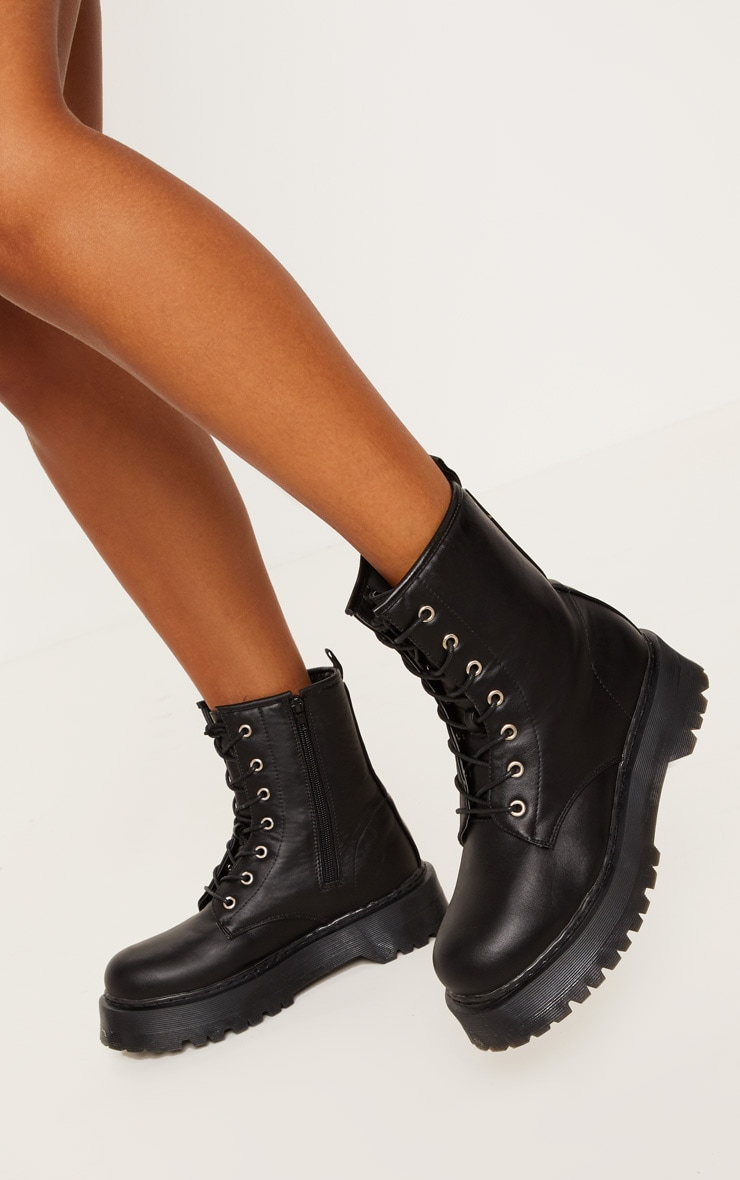 Black Chunky Sole Lace Up Ankle Boot 1