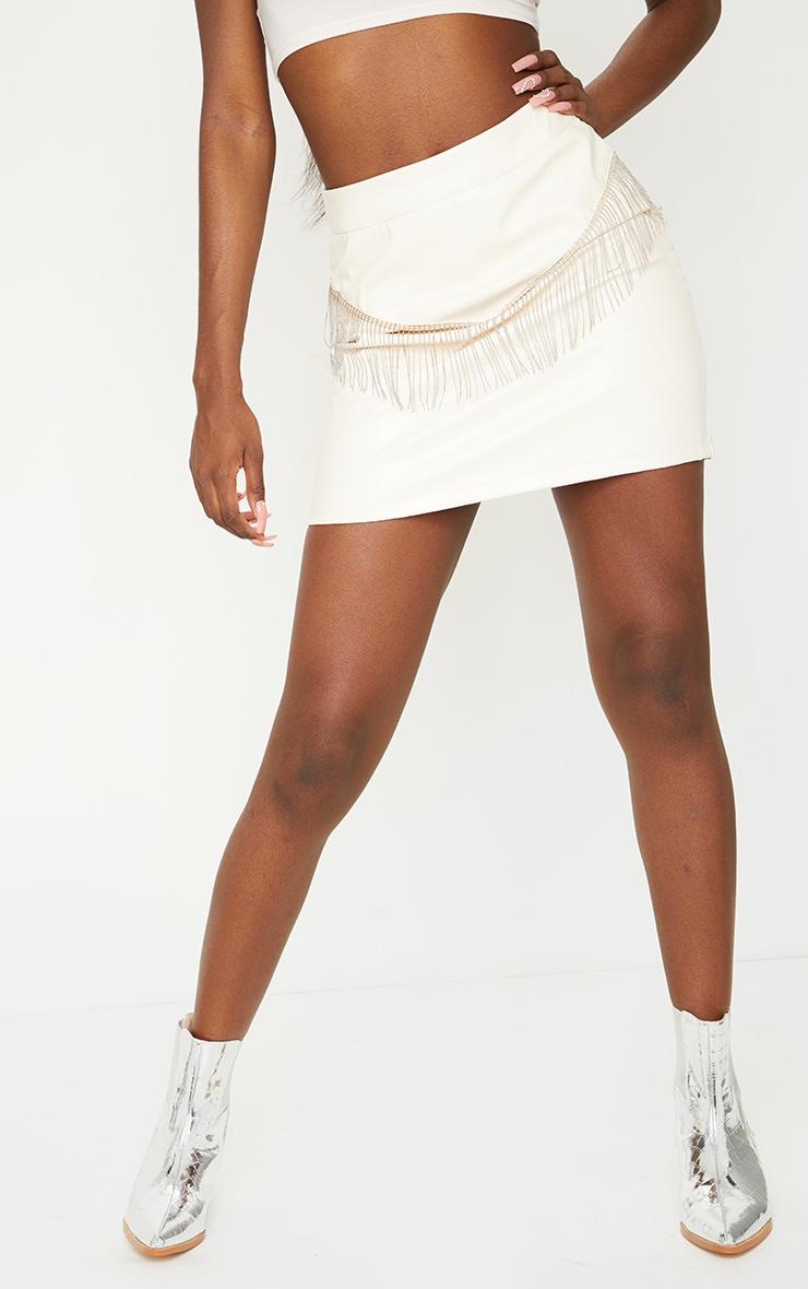 Tall Cream Chain Fringing PU Mini Skirt 2