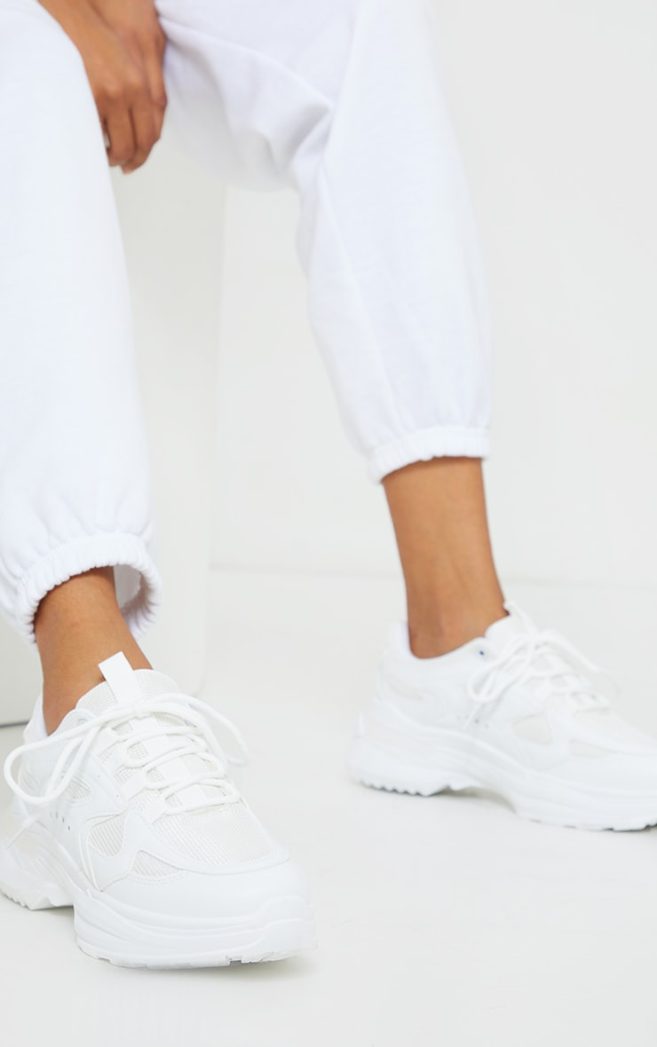 White Contrast Mesh Sneakers 1