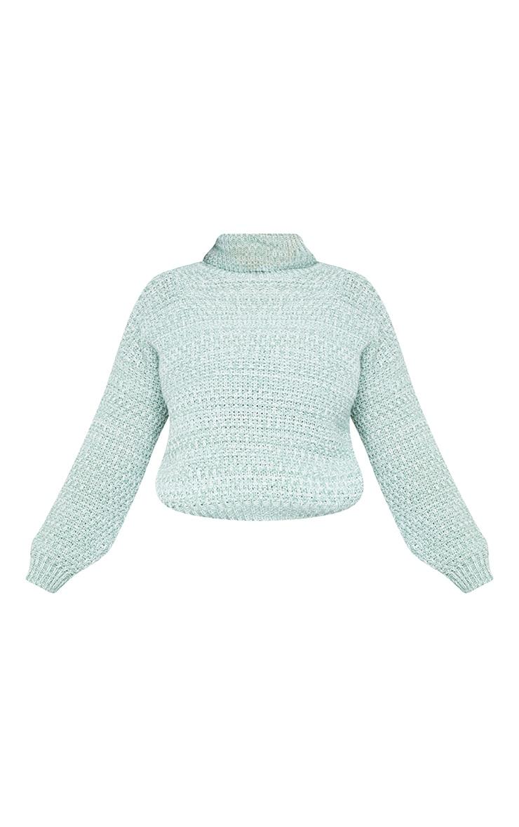 Plus Sage Green Fisherman Knit Roll Neck Sweater 5