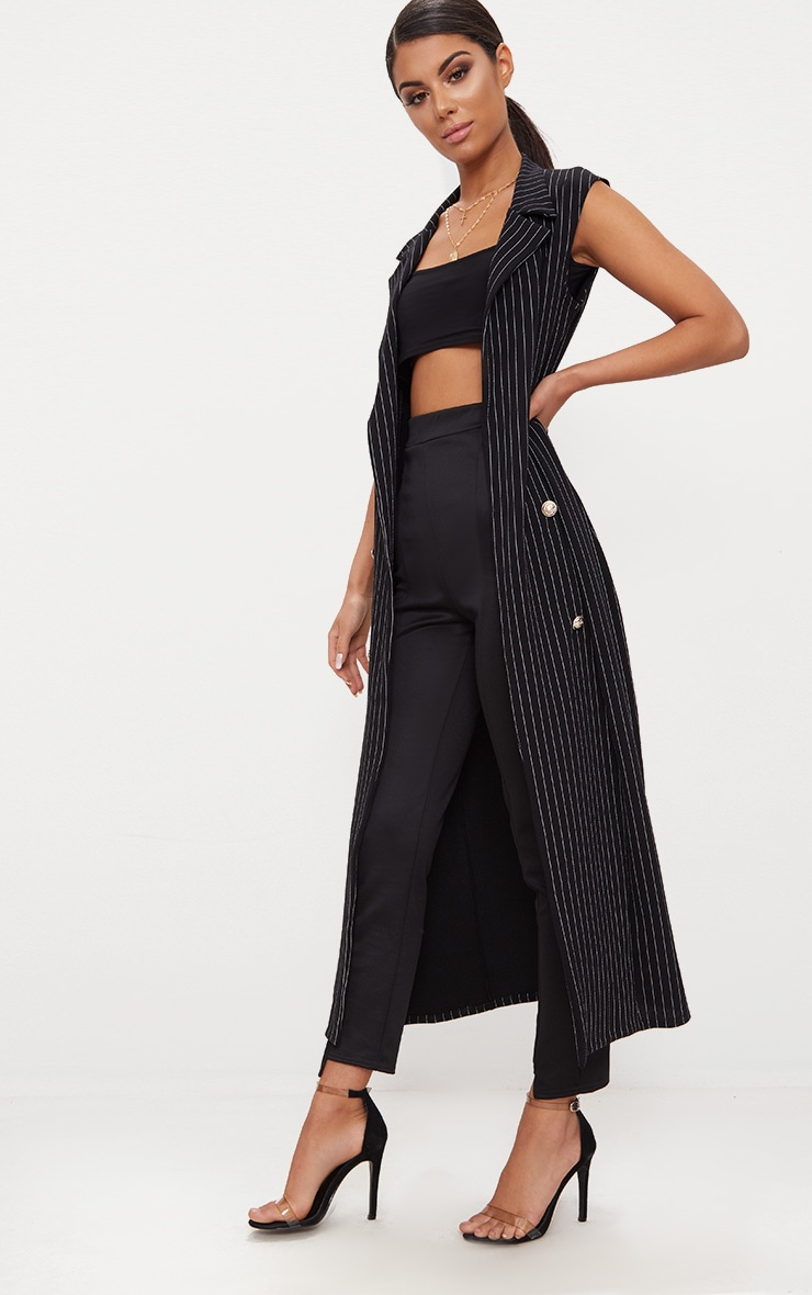 Pinstripe Sleeveless Military Button Duster Jacket 4