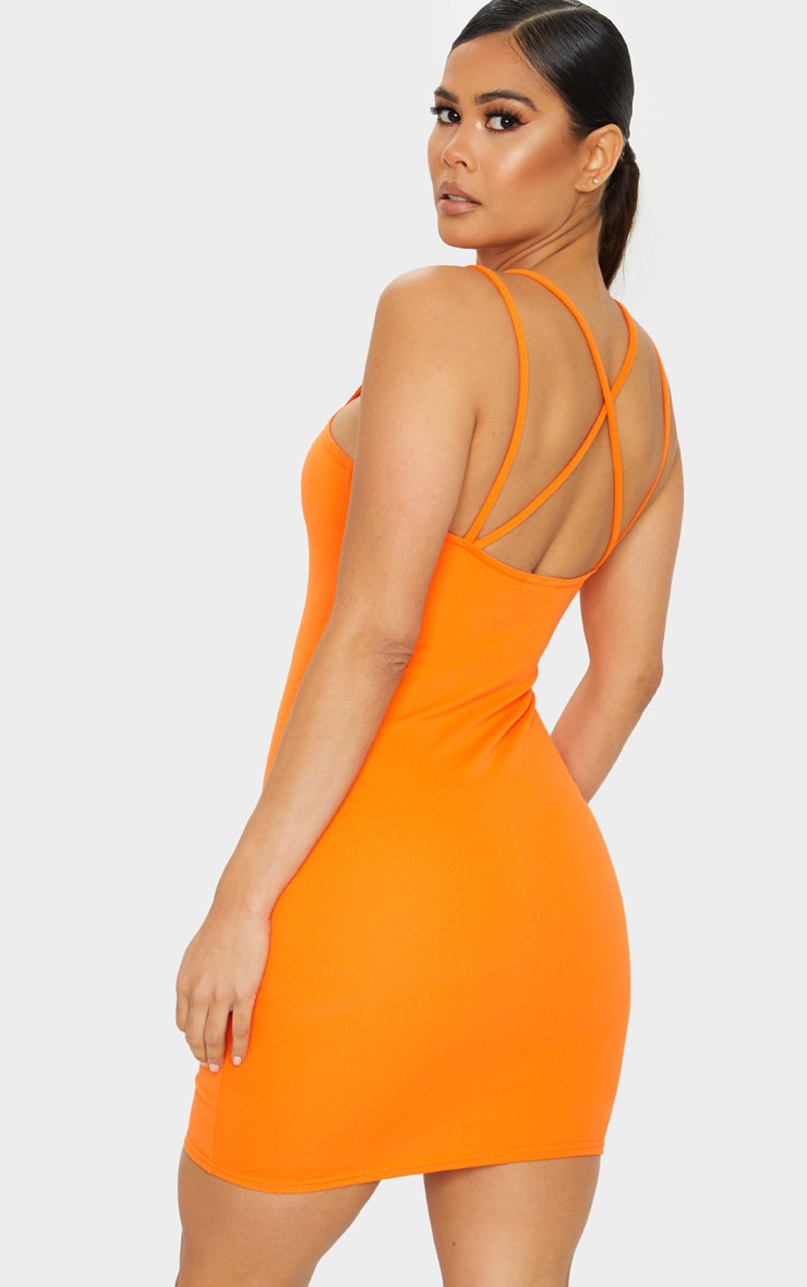 Bright Orange Multi Strap Detail Square Neck Bodycon Dress 2