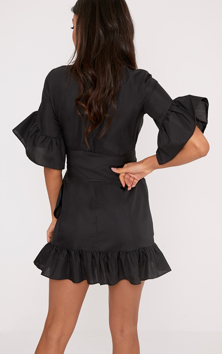 Aaliyah Black Frill Detail Mini Dress 2