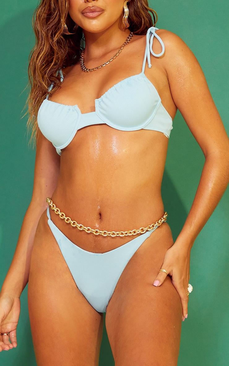 Blue Ribbed V Front Tanga Bikini Bottoms 1