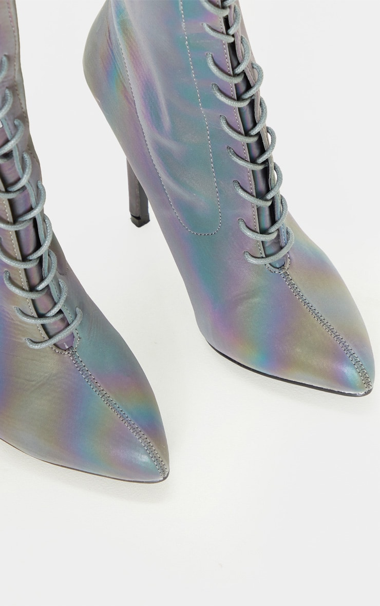 Reflective Rainbow Lace Up Sock Boot 5