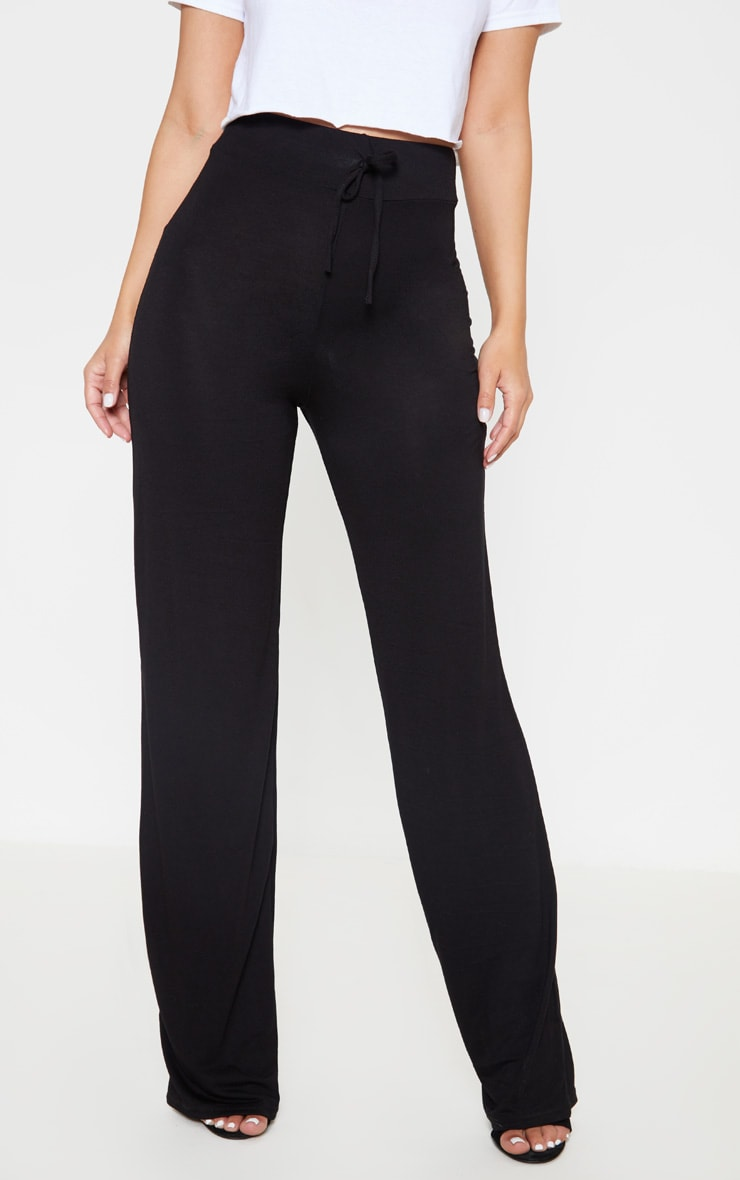 Petite Black Drawstring Jersey Wide Leg Track Pants 2