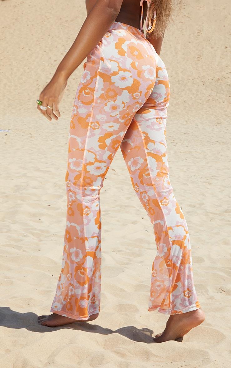 Orange Floral Print Mesh Beach Flares 3