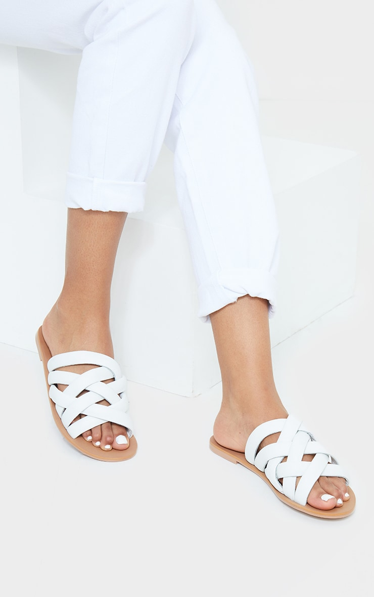 White Woven Detail Real Leather Mule Flat Sandal 1