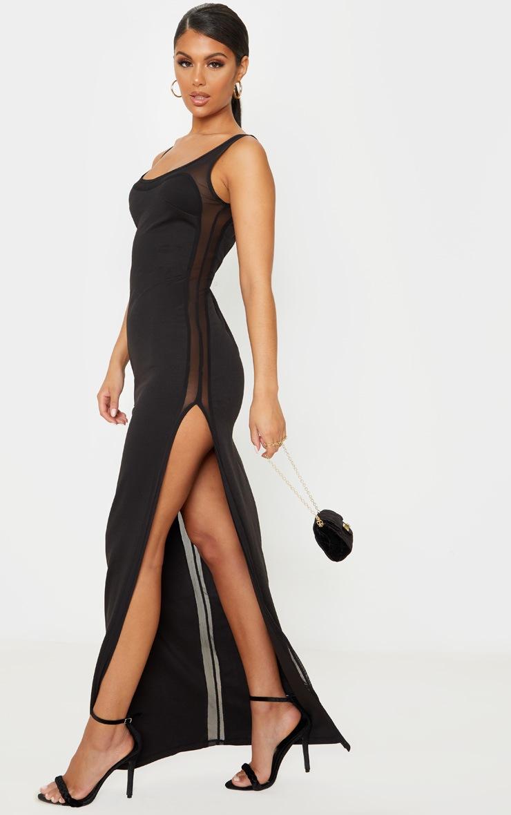 Black Sleeveless Mesh Insert Split Detail Maxi Dress 4