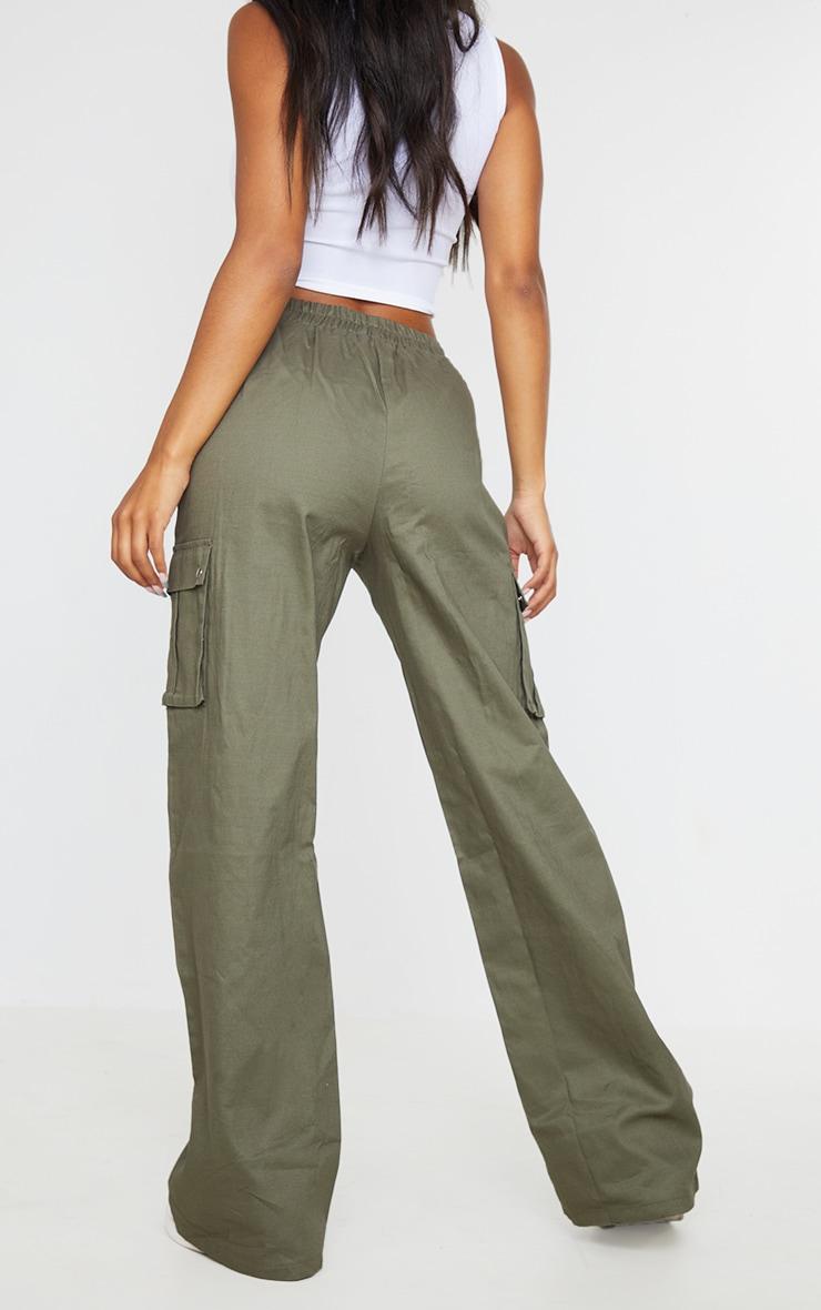 Khaki Wide Leg Cargo Pants 3