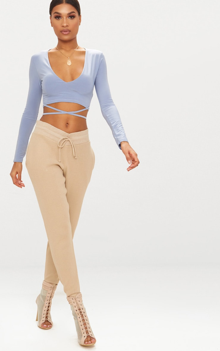 Powder Blue Slinky Long Sleeve Tie Waist Crop Top  4