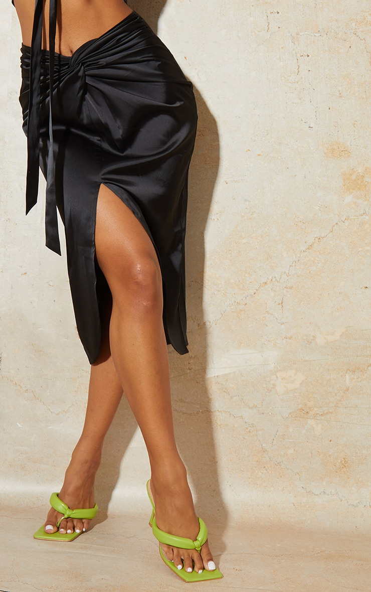Black Satin Knot Detail Midi Skirt 4