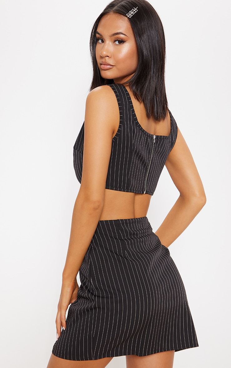Black Pinstripe Sleeveless Scoop Neck Crop Top 2