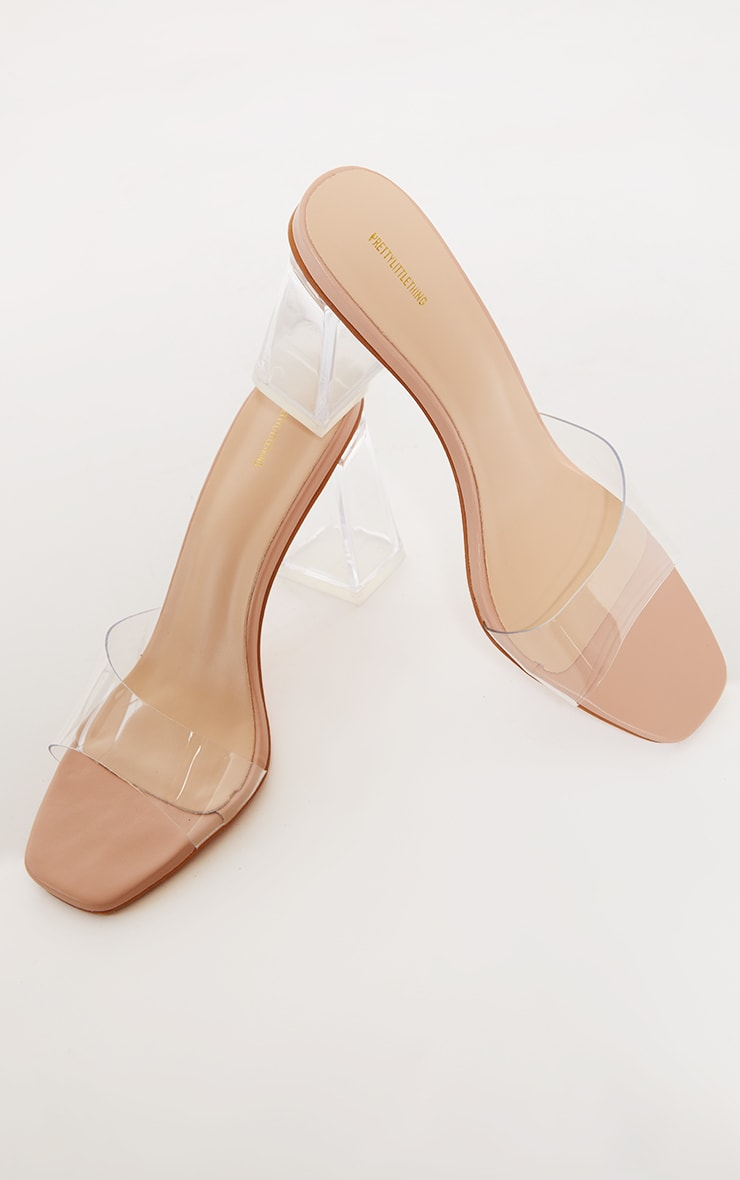 Nude Clear Strap High Clear Block Heel Mules 3