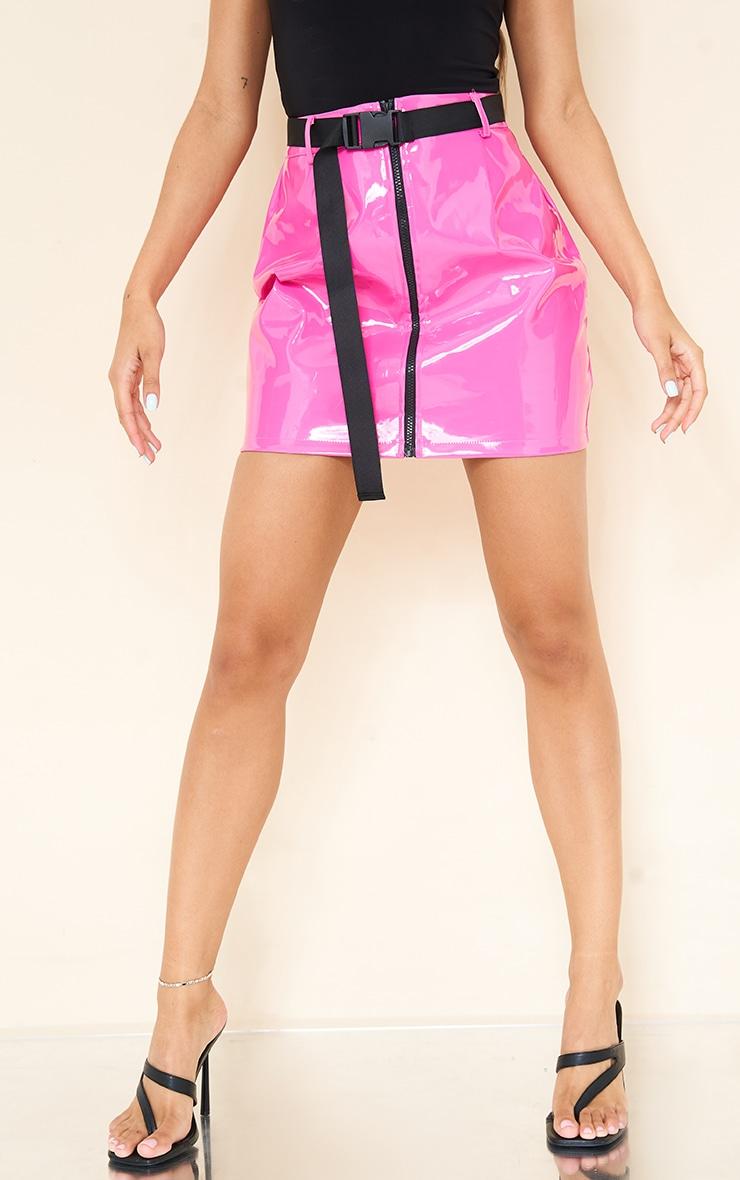 Neon Pink Vinyl Zip Front Belted Mini Skirt 2