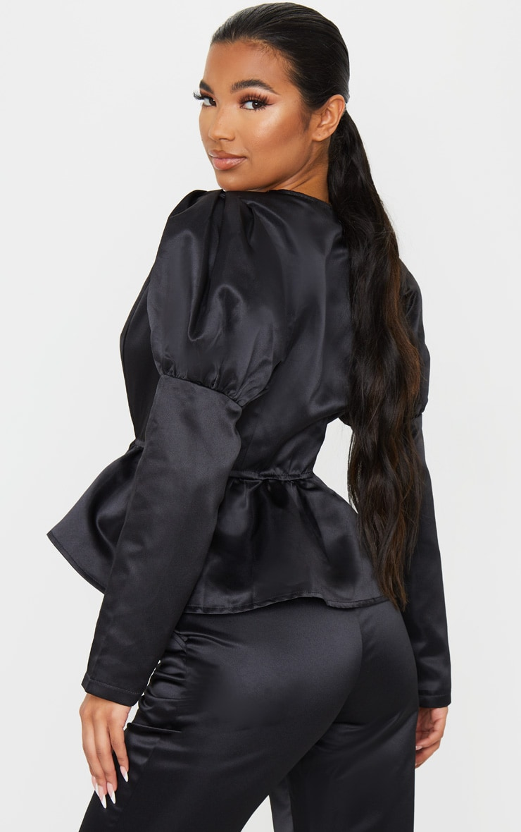 Black Puff Sleeve Hook And Eye Peplum Waist Jacket 2