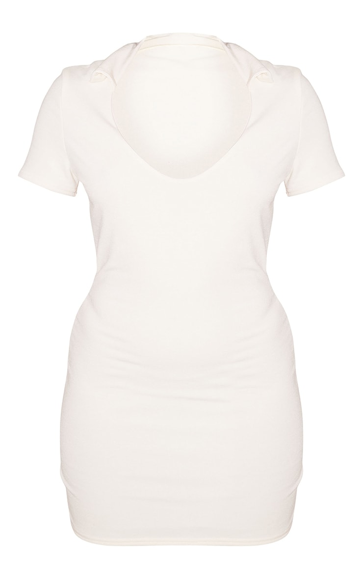 Recycled Petite Cream Contour Jersey Polo Mini Dress 5