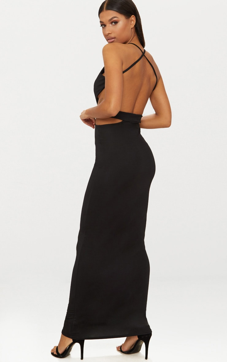 Black Strappy Cut Out Detail Maxi Dress 1