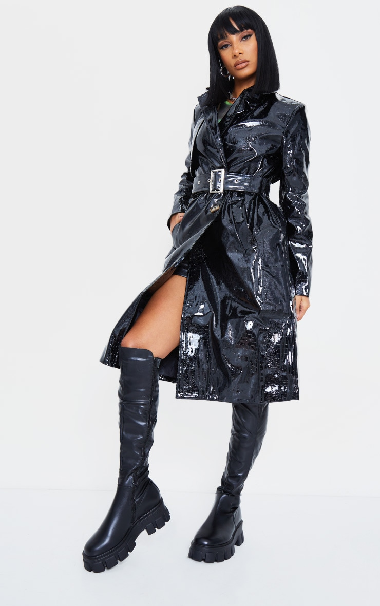 Black Croc PU Trench 4