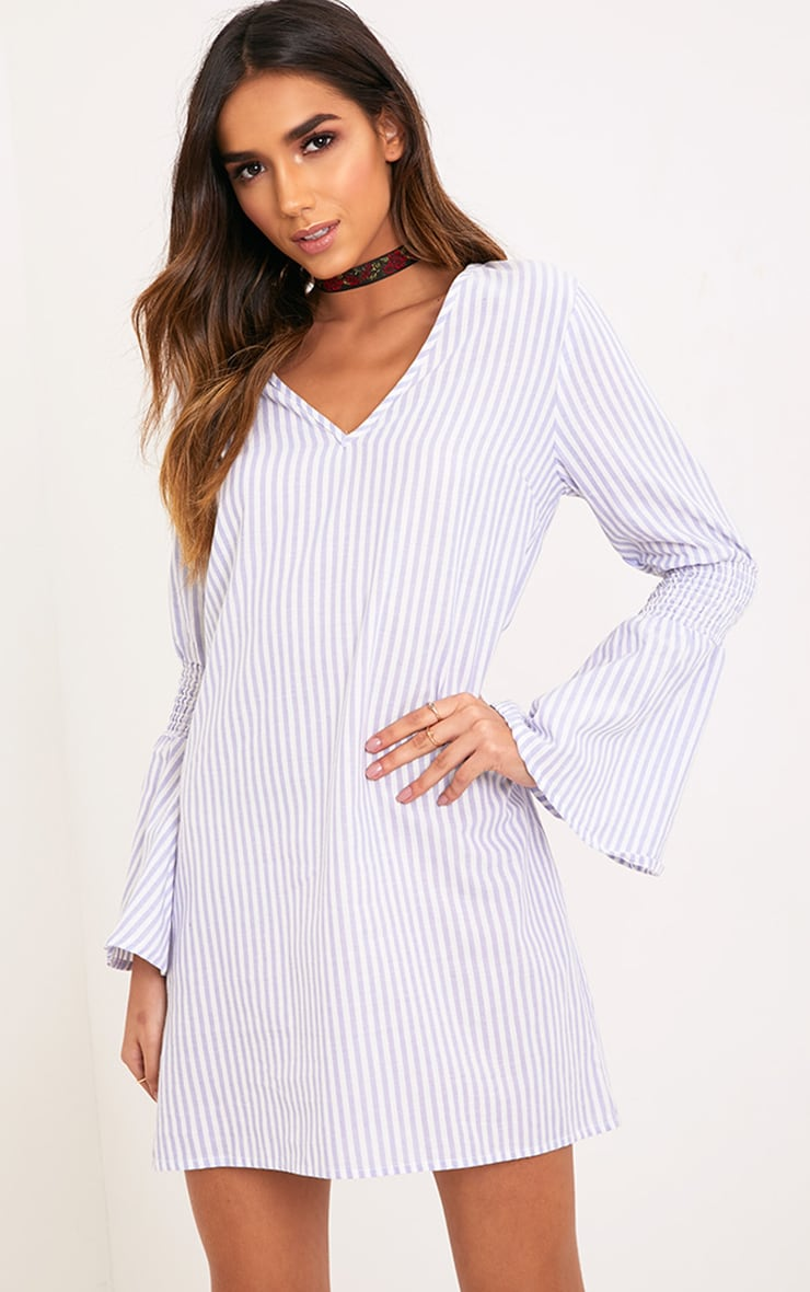 Frulina Blue Striped Flared Sleeve Shift Dress  1