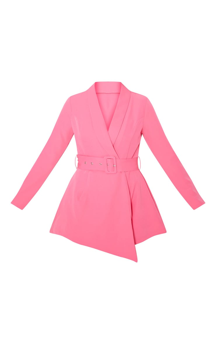 Pink Long Sleeve Tailored Belted Playsuit 3