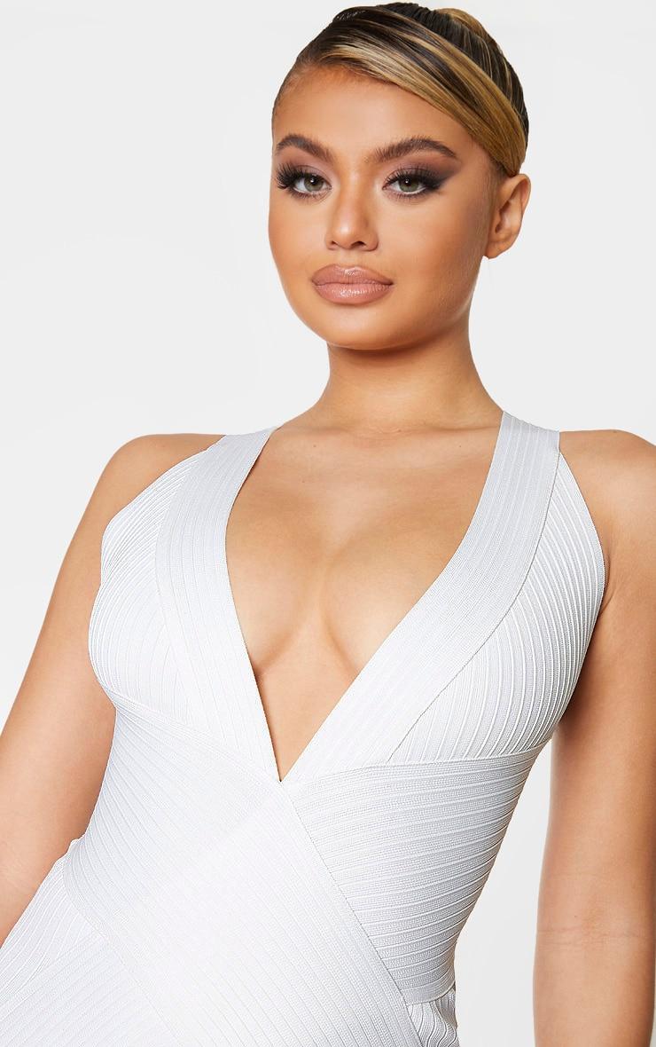 White Plunge Bandage Midi Dress 4