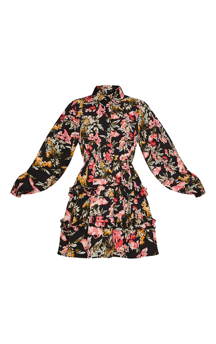 Black Floral Printed Frill Skater Shirt Dress 3