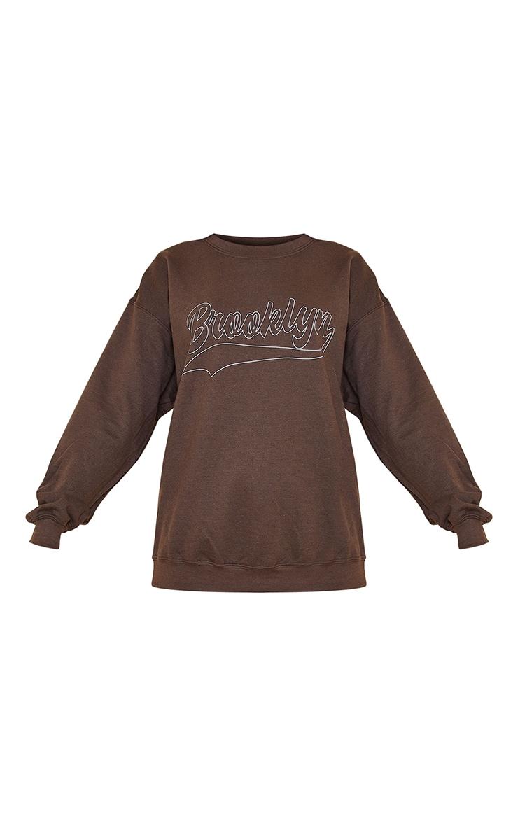 Chocolate Brooklyn Slogan Washed Sweatshirt 5
