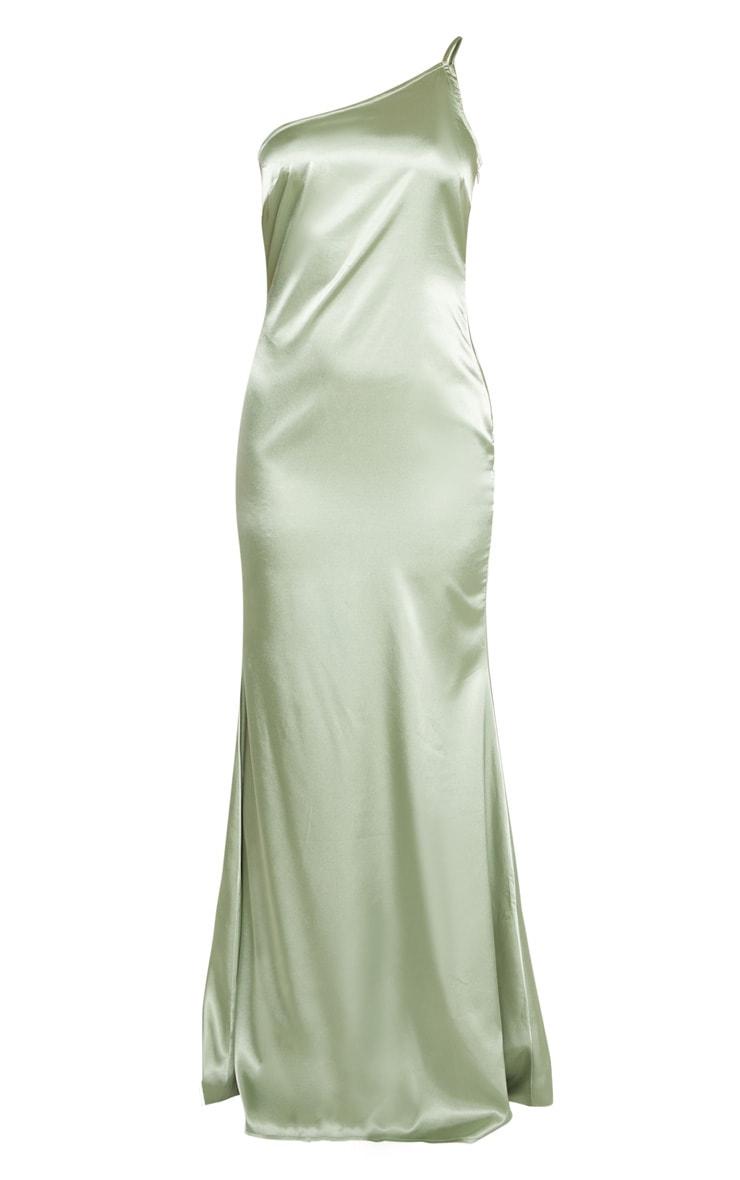 Sage Green Satin One Shoulder Maxi Dress 3