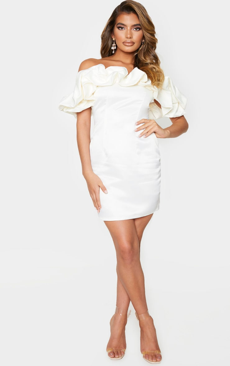 Cream Satin Ruffle Bardot Bodycon Dress 3