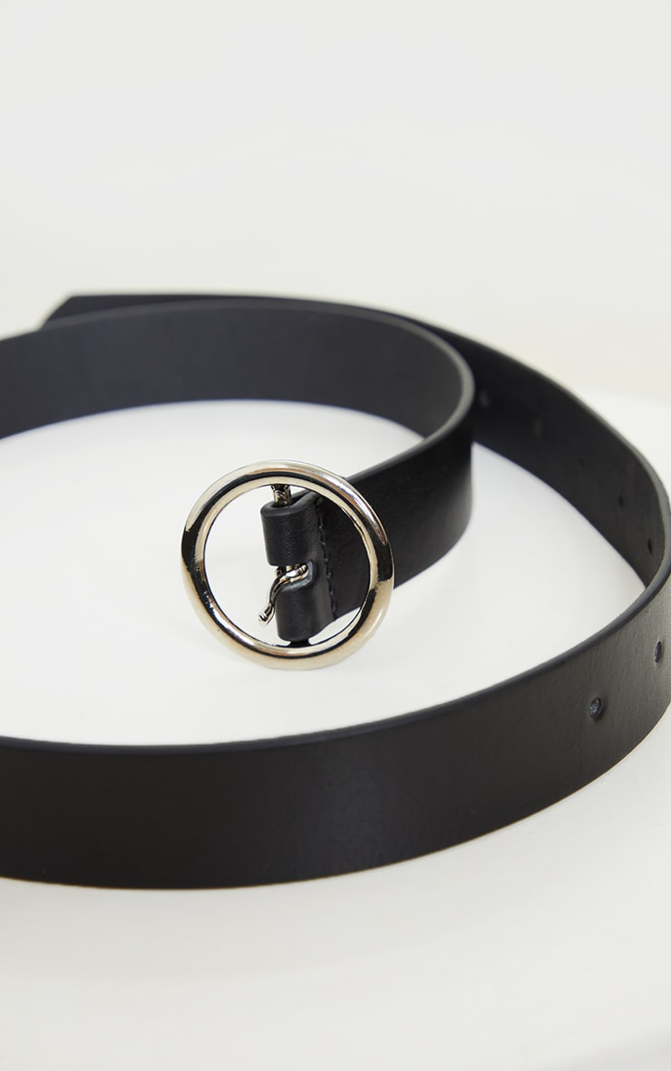 Black Basic Circle Buckle Belt 2