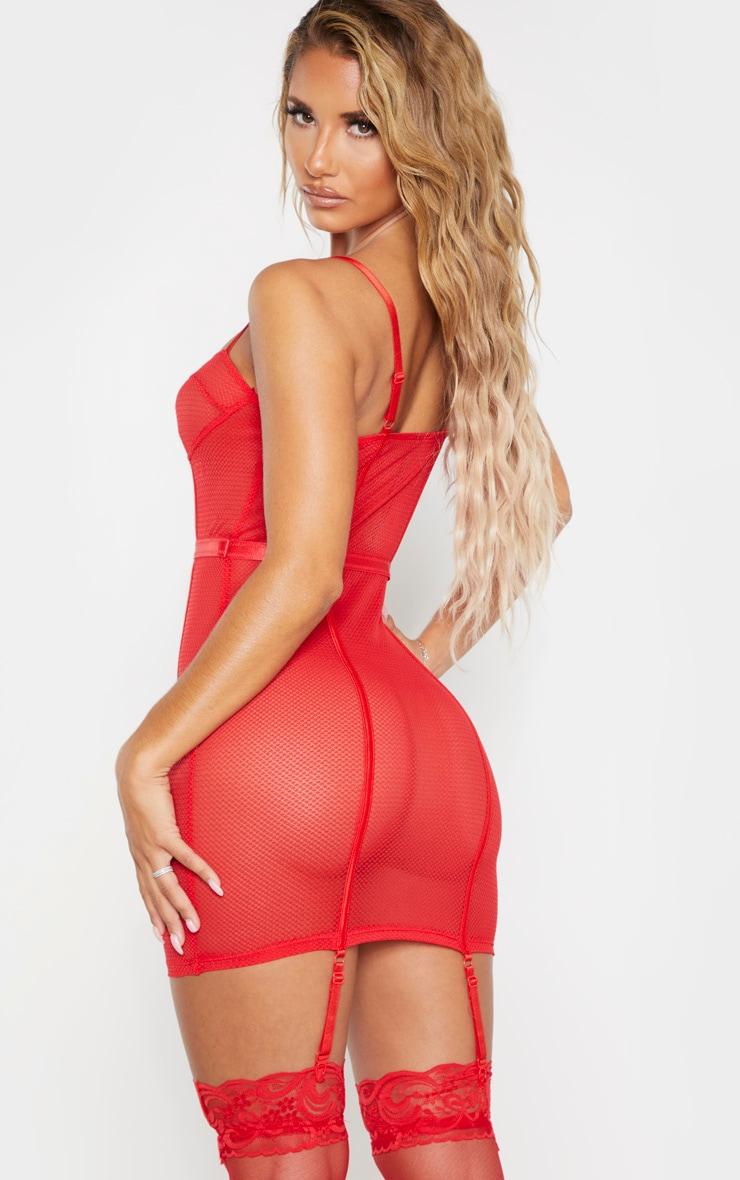Red Fishnet Mesh Lingerie Slip Dress 2