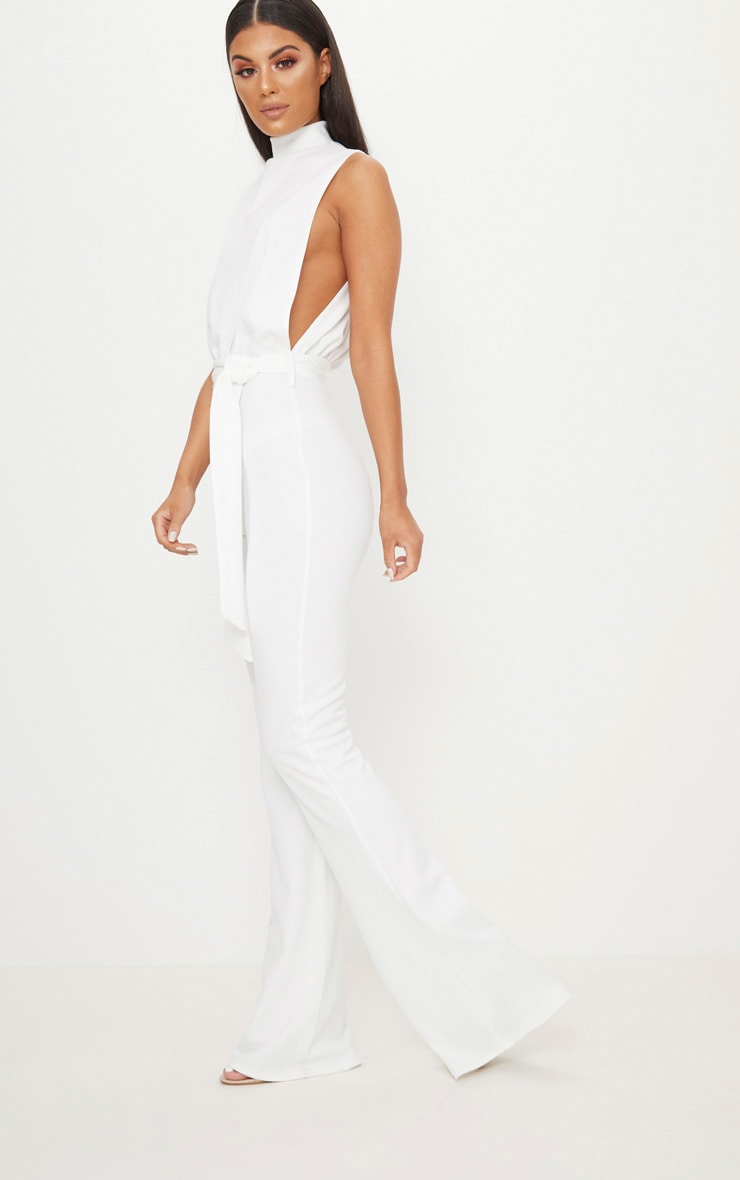 White Scuba High Neck Tie Waist Jumpsuit 1