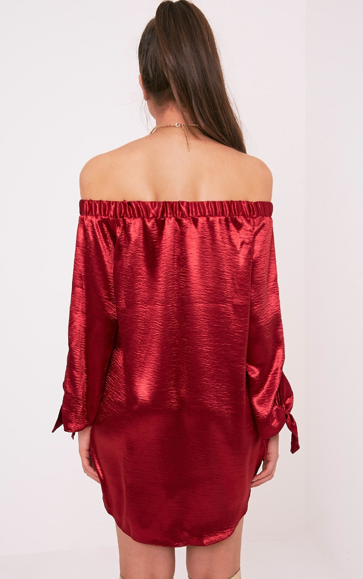 Cay Red Satin Bardot Shift Dress 2