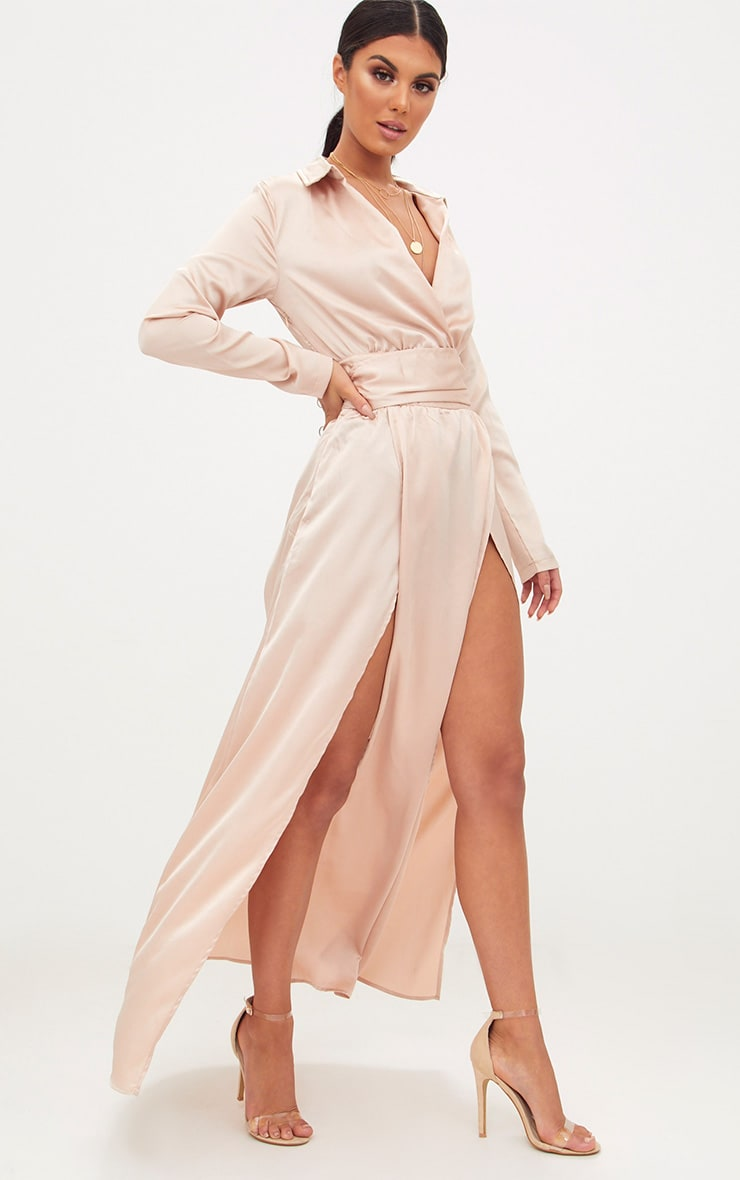 Champagne Long Sleeve Satin Belt Detail Maxi Dress 4