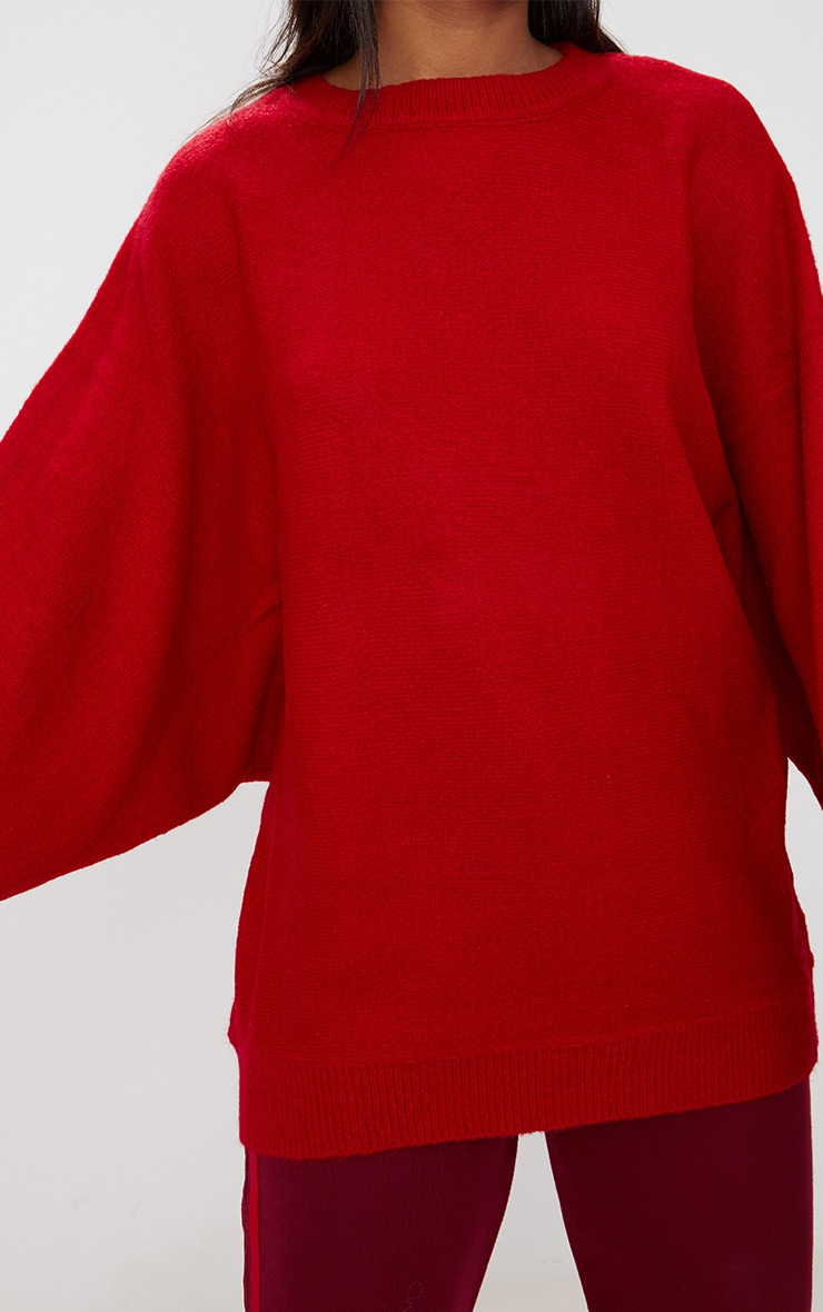 Red Oversized Knitted Sweater 5