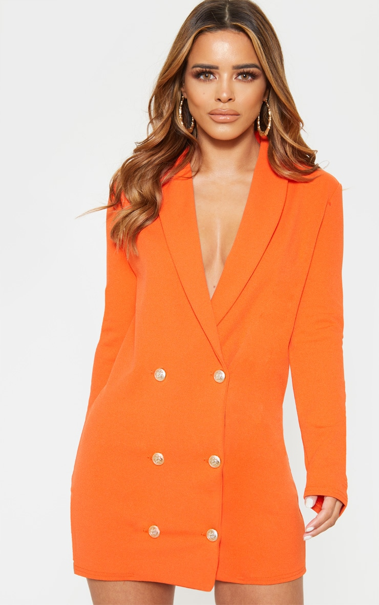 Petite Bright Orange Gold Button Blazer Dress 4