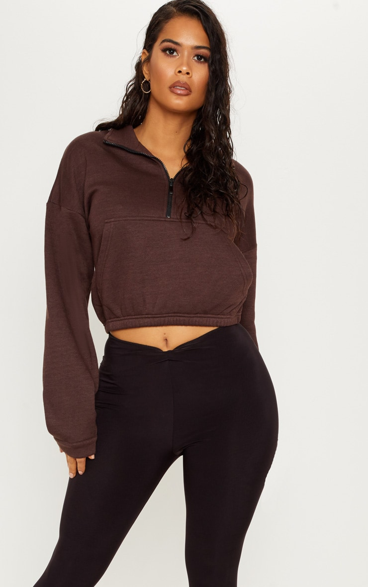 Chocolate Oversized Zip Front Sweater  1