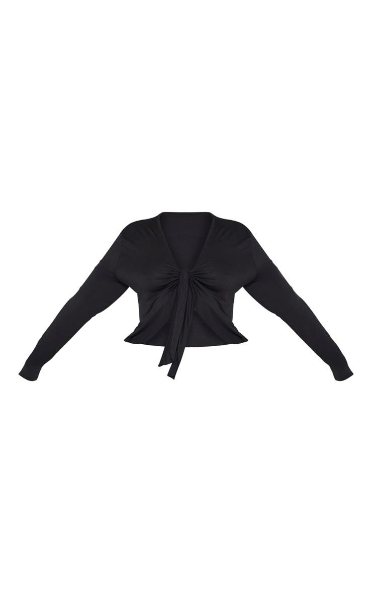 Plus Black Jersey Tie Detail Frill Hem Crop Top 3