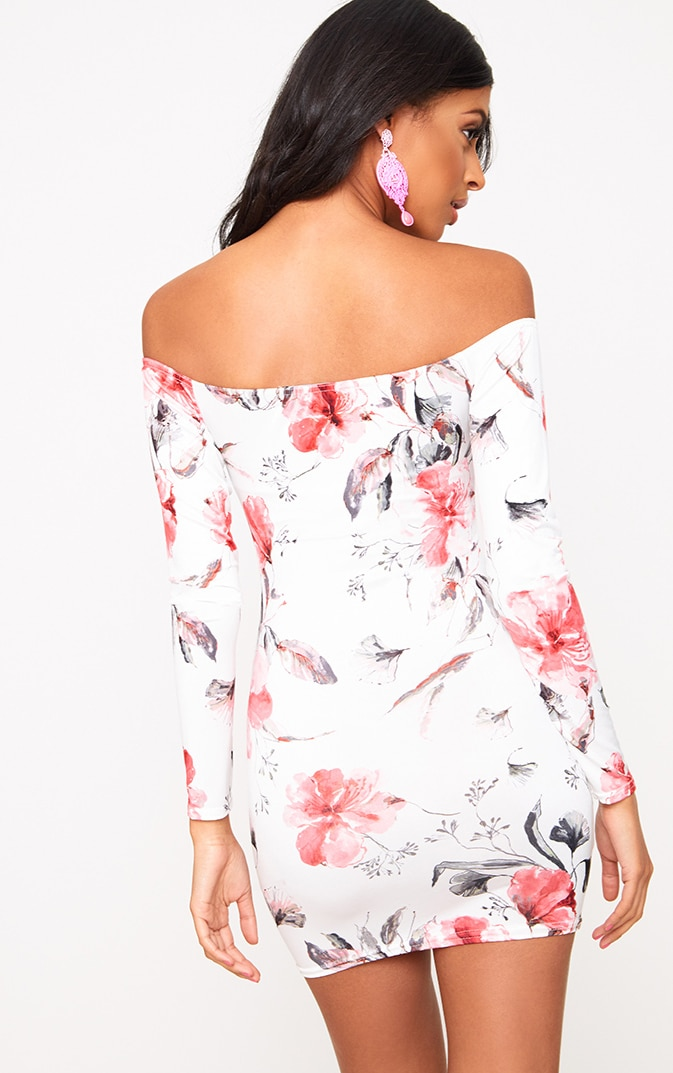 White Bardot Floral Bodycon Dress 2